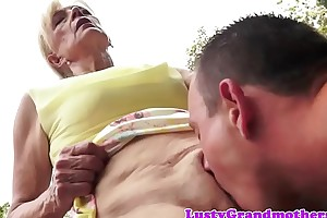 Saggy european granny pussylicked with an increment of fucked
