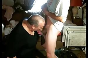 CrossDresser Sucks Flannel Surpassing His Knees