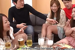 Creaming Asian sluts as the party gets heated on touching