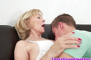 Saggy gilf spoon fucked and jizzed in brashness