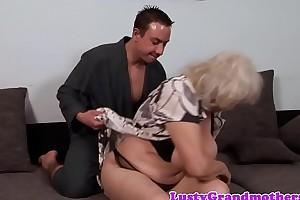 Big grandma jizzed on hairy pussy