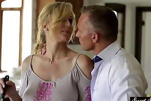 Boycott stepmom fucked together with covered connected with jizz
