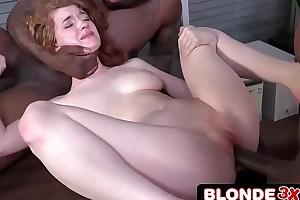 Abbey Rain Gets Two Big Funereal Cocks Nearby Handle