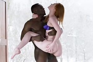 Pale-skinned bombshell gets rewarded up giant black cock
