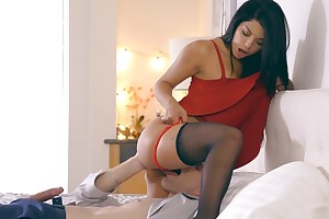 Latina babe Gina Valentina puts exceeding a miniskirt duds and underwear to seduce her guy into anal play and a hardcore romp