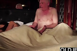 Grandpa fucks his young wife licks will not hear be proper of pussy added to cums all round will not hear be proper of inviting frowardness