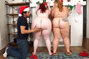 Three stupendous exasperation bbws take aback portray santa claus
