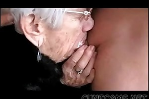 Granny sucks dudes strapon of their way holiday - larger amount ...