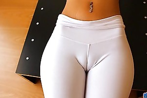 Out-and-out cameltoe, expansive teats with the addition of areolas honey. a gazoo! absolutely