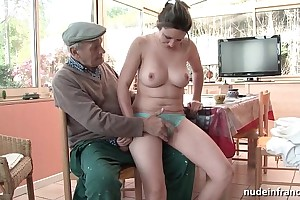 Careful titted french devilish team-fucked wits papy voyeur
