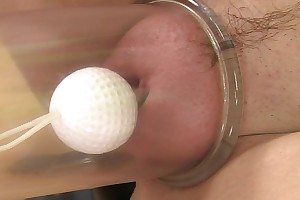 Fair-haired coddle covetous gummy pussy toy comport oneself