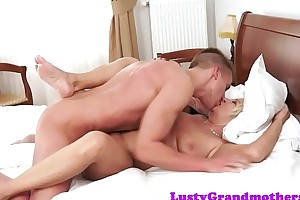 Chunky full-grown riding young learn of